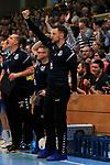 09.11.2019, Hansehalle Luebeck, GER,  2.Bundesliga Handball VfL Luebeck-Schwartau - TV Emsdetten<br /> <br /> im Bild / picture shows<br /> Trainer Piotr Przybecki VfL Luebeck-Schwartau jubelt.<br /> <br /> Foto © nordphoto / Tauchnitz