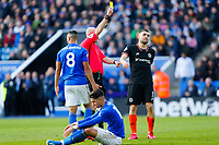 1st February 2020; King Power Stadium, Leicester, Midlands, England; English Premier League Football, Leicester City versus Chelsea; Referee Lee Mason books Mateo Kovavic of Chelsea for a foul on Ayoze Perez of Leicester City