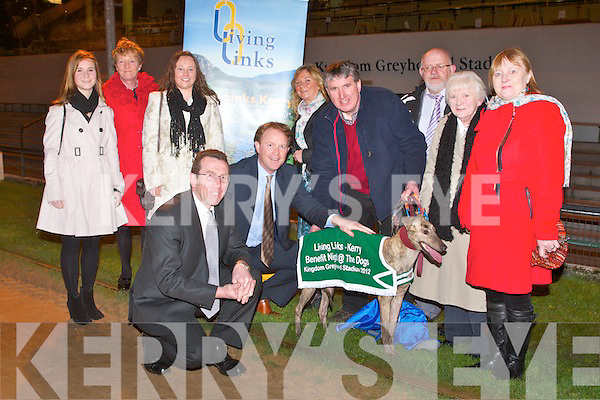 LIVING LINKS: Launching the Living Links benefit Night at the Dogs to be held on Saturday 31st of March at the Kingdom Greyhound Stadium front l-r: Declan Dowling (sales and operational manager KGS) and Arthur Spring TD. Back l-r: Aoife Ni Choileain, Nuala O'Keeffe, Claire Murphy, Kathleen Collins, Eamonn Finn, Murt Murphy (chairman KGS Supporters Club), Margaret Casey and Bridid O'Connor.