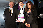 © Joel Goodman - 07973 332324 . 03/03/2016 . Manchester , UK . Michael Hardacre , president of Manchester Law Society , Highly commended Trainee of the Year CHRISTOPHER REECE of Chafes (centre) . The Manchester Legal Awards from the Midland Hotel . Photo credit : Joel Goodman