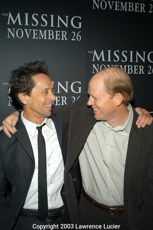 NEW YORK - NOVEMBER 16: Producer Brian Grazer and director Ron Howard arrive November 16, 2003, at the premiere of The Missing at Loews Lincoln Square in New York City.