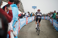 Roger Kluge (DEU/IAM) is the last rider up the dirt roads of the Colle delle Finestre (2178m)<br /> <br /> Giro d'Italia 2015<br /> stage 20: Saint Vincent - Sestriere (199km)