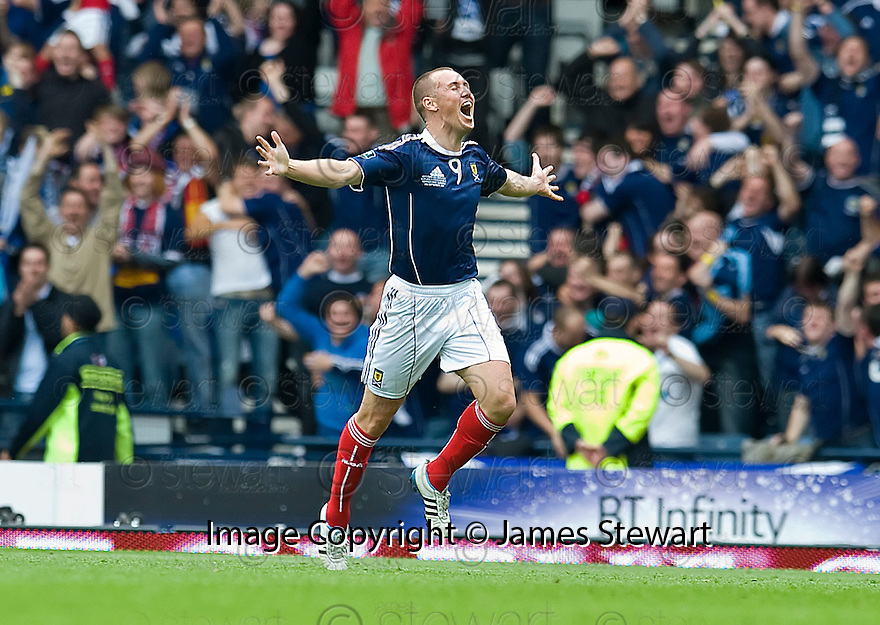 KENNY MILLER CELEBRATES AFTER HE SCORES SCOTLAND'S FIRST GOAL