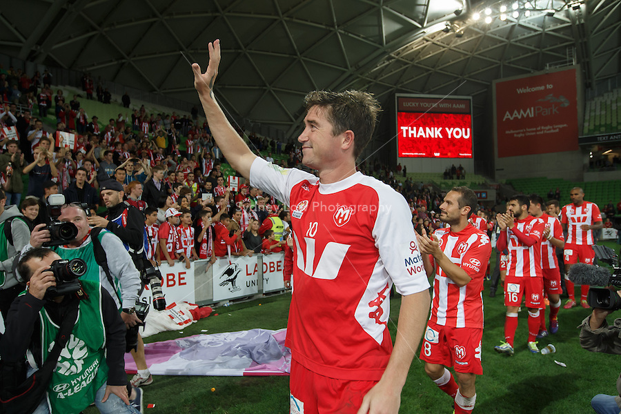 Harry KEWELL of the Heart waves to fans after his final match before retiring in the round 27 match between Melbourne Heart and  the Western Sydney Wanderers in the Australian Hyundai A-League 2013-24 season at AAMI Park, Melbourne, Australia. Photo Sydney Low/Zumapress<br /> <br /> This image is not for sale on this web site. Please visit zumapress.com for licensing