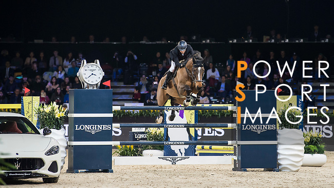 John Whitaker of Great Britain riding Crumley competes in the Longines Grand Prix during the Longines Masters of Hong Kong at AsiaWorld-Expo on 11 February 2018, in Hong Kong, Hong Kong. Photo by Diego Gonzalez / Power Sport Images
