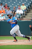 Akron RubberDucks first baseman Nellie Rodriguez (25) at bat during the first game of a doubleheader against the Bowie Baysox on June 5, 2016 at Prince George's Stadium in Bowie, Maryland.  Bowie defeated Akron 6-0.  (Mike Janes/Four Seam Images)