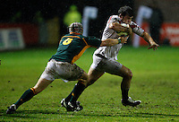 Photo: Richard Lane/Richard Lane Photography. England U20 v South Africa U20. Semi Final. 18/06/2008. England's Nathan Catt is tackled by South Africa's Johan van Deventer.