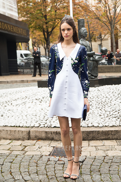 Stacy Martin attend Miu Miu Show Front Row - Paris Fashion Week  2016.<br /> October 7, 2015 Paris, France<br /> Picture: Kristina Afanasyeva / Featureflash