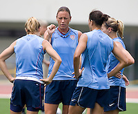 USWNT forward Abby Wambach talks to her teammates during practice at Anyang Sports Center in Seoul, South Korea.
