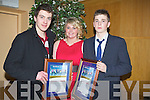 CERTIFICATES: Youths from Pobalscoil Inbhear,Sce?ine, Kenmare who were winner of Lee Strand -Kerry Garda Acheivement Merit Youth Awards on Friday night in Ballyroe Heights Hotel Tralee............. . ............................... ..........