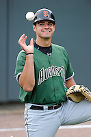 Catcher Aramis Garcia (15) of the Augusta GreenJackets waits for the start of a game against the Greenville Drive on Opening Day, Thursday, April 9, 2015, at Fluor Field at the West End in Greenville, South Carolina. Greenville won, 3-2. (Tom Priddy/Four Seam Images)