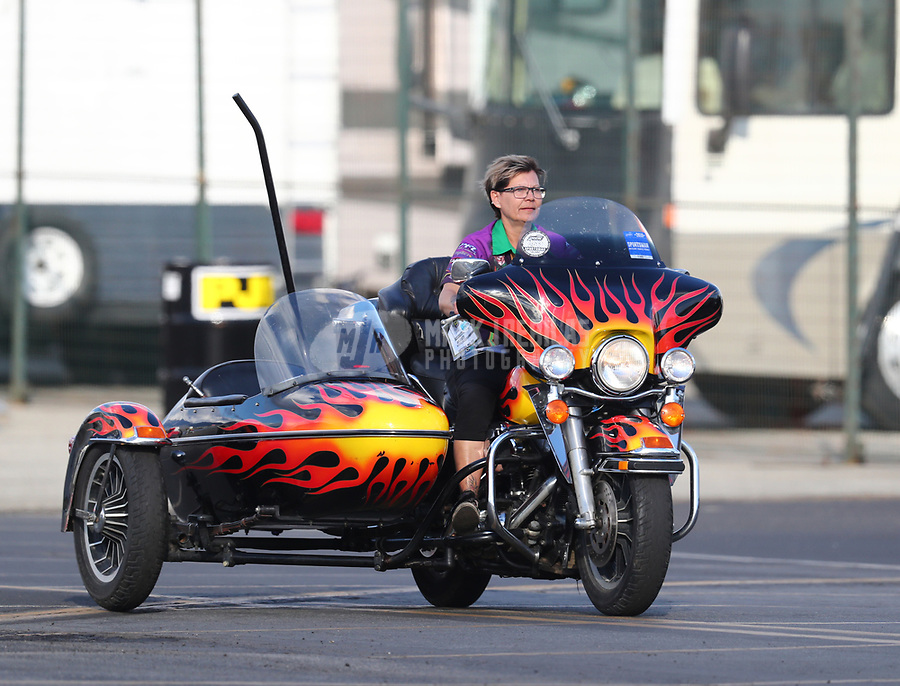 Feb 9, 2019; Pomona, CA, USA; Crew member for NHRA top fuel Harley Davidson nitro motorcycle rider Andy Beauchemin during the Winternationals at Auto Club Raceway at Pomona. Mandatory Credit: Mark J. Rebilas-USA TODAY Sports