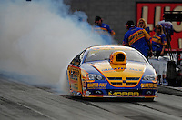 Oct. 31, 2008; Las Vegas, NV, USA: NHRA pro stock driver Rickie Jones does a burnout during qualifying for the Las Vegas Nationals at The Strip in Las Vegas. Mandatory Credit: Mark J. Rebilas-