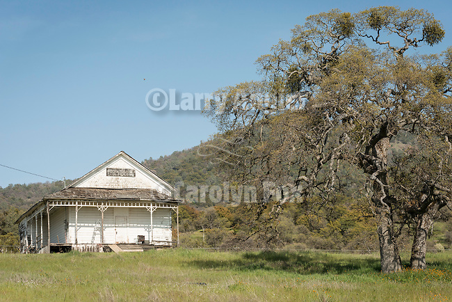 Historic old one-room school house on the hill, Bear Valley, Mariposa County, Calif.