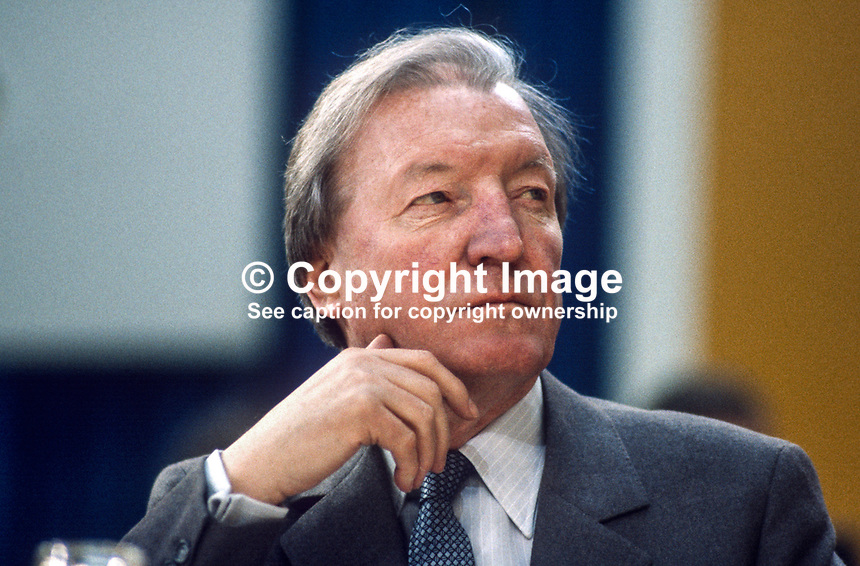 Charles Haughey, TD, leader, Fianna Fail, opposition party, Rep of Ireland, photographed at April 1984 Ard Fheis i.e. party conference, 19840048CH2.<br />