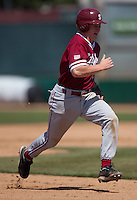 LOS ANGELES, CA - April 10, 2011: Zach Jones of Stanford baseball races to third during Stanford's game against USC at Dedeaux Field in Los Angeles. Stanford lost 6-2.