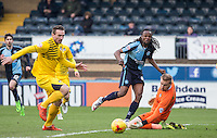 Marcus Bean of Wycombe Wanderers narrowly misses before being taken off early on during the Sky Bet League 2 match between Wycombe Wanderers and Bristol Rovers at Adams Park, High Wycombe, England on 27 February 2016. Photo by Andy Rowland.
