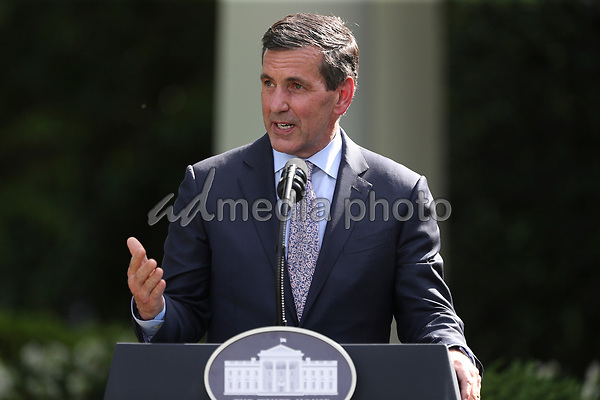 Bruce Broussard, president and CEO of Humana Inc., speaks during an event on Protecting Seniors with Diabetes in the Rose Garden of the White House on May 26, 2020 in Washington, DC.<br /> Credit: Oliver Contreras / Pool via CNP/AdMedia