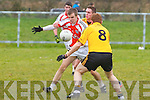 Timmy Finnegan of Brosna being surrounded by Emmets' players Noel Kennelly and Cormac Mulvihill.