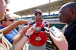 10 March 2006: Frank Robinson, Manager of the Washington Nationals, answers press questions prior to a Spring Training game against the Houston Astros. The Astros defeated the Nationals 8-6 at Osceola County Stadium, in Kissimmee, Florida...Mandatory Photo Credit: Ed Wolfstein..