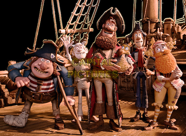 SCENE - Pirate Captain (voiced by Hugh Grant, center, with his bird, Polly) and some of his band of misfits, including, (L-R) Pirate with Gout (voiced by Brendan Gleeson), Albino Pirate (voiced by Russell Tovey), Pirate with Scarf (voiced by Martin Freeman), and Surprisingly Curvaceous Pirate (voiced by Ashley Jensen).in The Pirates! In an Adventure with Scientists! (The Pirates! Band of Misfits).*Filmstill - Editorial Use Only*.CAP/FB.Supplied by Capital Pictures.