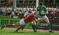 Ireland U20's Calvin Nash is tackled by Wales U20's Rhun Williams<br /> <br /> Photographer Alex Dodd/CameraSport<br /> <br /> RBS Six Nations U20 Championship Round 4 - Wales U20s v Ireland U20s - Saturday 11th March 2017 - Parc Eirias, Colwyn Bay, North Wales<br /> <br /> World Copyright &copy; 2017 CameraSport. All rights reserved. 43 Linden Ave. Countesthorpe. Leicester. England. LE8 5PG - Tel: +44 (0) 116 277 4147 - admin@camerasport.com - www.camerasport.com
