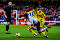 Standard Liege's midfielder Valeriy Luchkevych (22) for Ukraine U21's  fouls Norwich City's forward James Maddison (10) for England U21's during the International Euro U21 Qualification match between England U21 and Ukraine U21 at Bramall Lane, Sheffield, England on 27 March 2018. Photo by Stephen Buckley / PRiME Media Images.