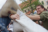 People participate in a public pillowfight in Budapest, Hungary. Wendesday, 07. April. 2012. ATTILA VOLGYI