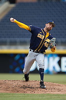 California Golden Bears starting pitcher Ryan Mason (42) in action against the Duke Blue Devils at Durham Bulls Athletic Park on February 20, 2016 in Durham, North Carolina.  The Blue Devils defeated the Golden Bears 6-5 in 10 innings.  (Brian Westerholt/Four Seam Images)