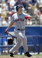 Johnny Damon of the Boston Red Sox bats during a 2002 MLB season game against the Los Angeles Dodgers at Dodger Stadium, in Los Angeles, California. (Larry Goren/Four Seam Images)