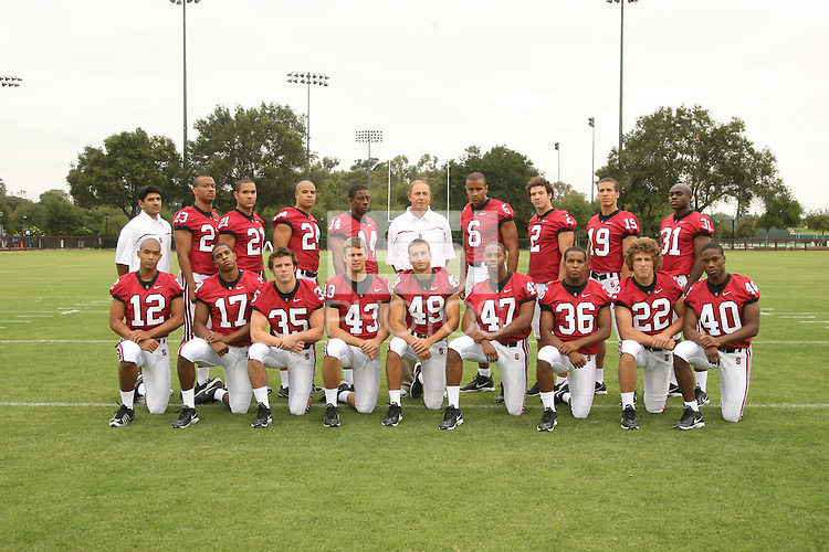 7 August 2006: Position Photos during Stanford Football's Picture Day at the Stanford practice field in Stanford, CA. Top Row (L-R): Mayur Chaudhari, Brandon Harrison, Thaddeus Chase, Trevor Hooper, Tim Sims, A.J. Christoff, David Lofton, Nick Sanchez, Aaron Smith, Wopamo Osaisai. Bottom Row (L-R): C.J. Easter, Carlos McFall, Blaise Johnson, Kenny Long, Tyler Porras, Jerome Jackson, Chris Hobbs, Bo McNally, Kris Evans.