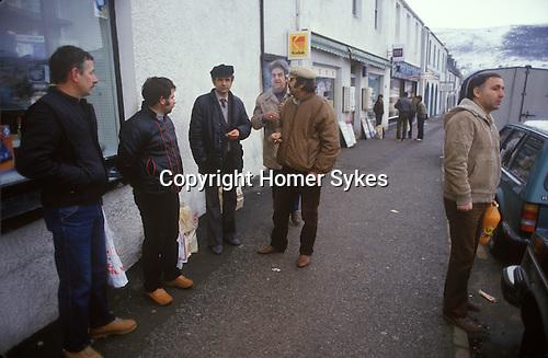 Ullapool Scotland. 1986. Bulgarian factory fishermen in shopping in Ullapool