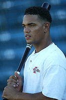 Sandy Aracena of the Bakersfield Blaze before a 2004 season California League game against the Rancho Cucamonga Quakes in Rancho Cucamonga, California. (Larry Goren/Four Seam Images)