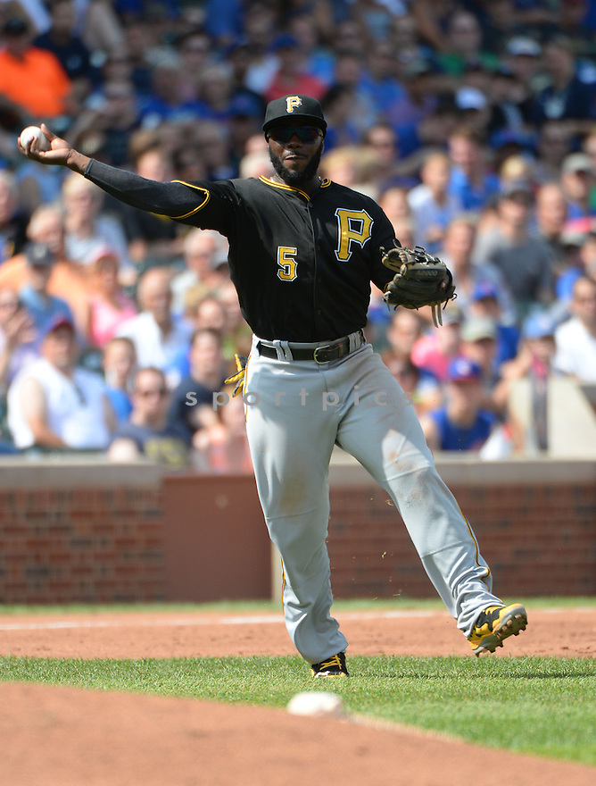 Pittsburgh Pirates Josh Harrison (5) during a game against the Chicago Cubs on September 5, 2014, at Wrigley Field in Chicago, IL. The Pirates beat the Cubs 5-3.