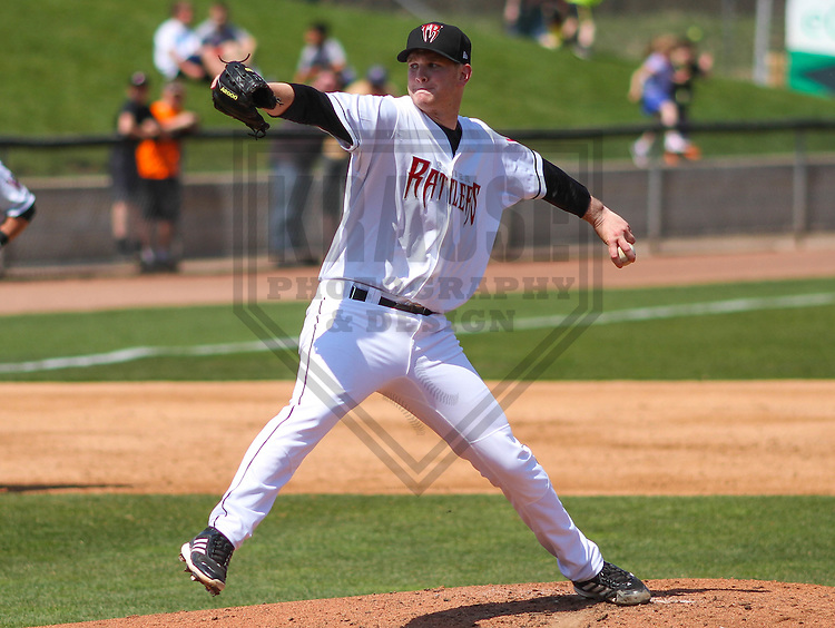 APPLETON - May 2015: Wisconsin Timber Rattlers pitcher Zach Hirsch (33) during a game against the Quad Cities River Bandits on May 2nd, 2015 at Fox Cities Stadium in Appleton, Wisconsin.  Quad Cities defeated Wisconsin 5-2.  (Brad Krause/Four Seam Images)