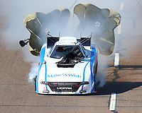 Feb 24, 2018; Chandler, AZ, USA; Detailed view to the damage to the body of the car of NHRA funny car driver Tommy Johnson Jr after exploding an engine on fire during qualifying for the Arizona Nationals at Wild Horse Pass Motorsports Park. Johnson would be uninjured in the incident. Mandatory Credit: Mark J. Rebilas-USA TODAY Sports