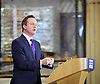 David Cameron <br /> leader of the Conservatives<br /> Prime Minister<br /> Speaking at a factory in Bedford, Bedfordshire.  <br /> 21st April 2015 <br /> <br /> <br /> David Cameron to campaign in the East of England and London<br /> <br /> <br /> Photograph by Elliott Franks <br /> Image licensed to Elliott Franks Photography Services