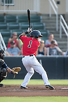 Eddy Alvarez (1) of the Kannapolis Intimidators at bat against the Asheville Tourists at Intimidators Stadium on June 25, 2015 in Kannapolis, North Carolina.  The Intimidators defeated the Tourists 9-8.  (Brian Westerholt/Four Seam Images)