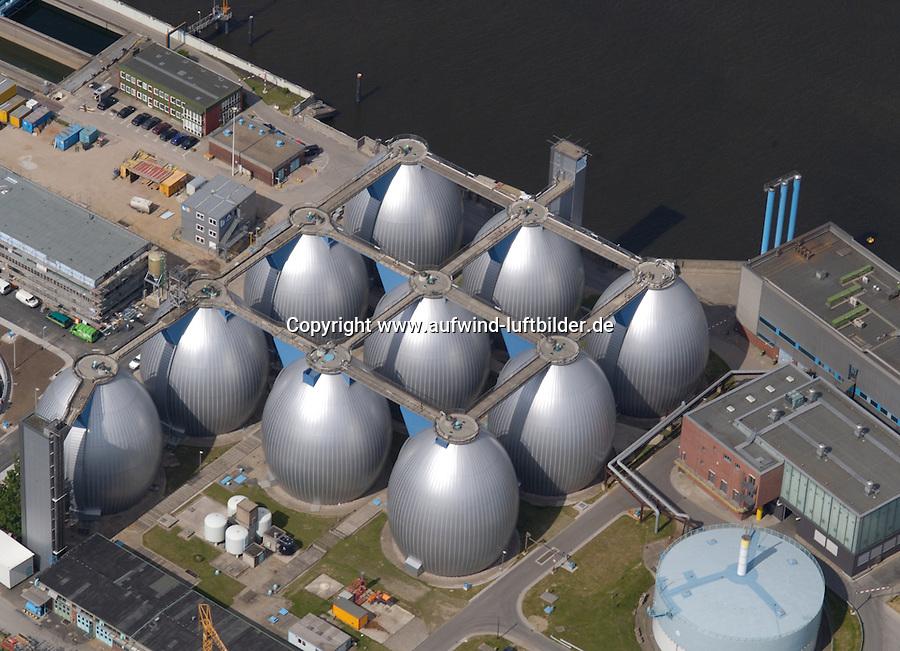 Deutschland, Hamburg, Hafen, Klaeranlage, Siel, Hamburger Stadtentwaesserung, Fauleier; Hauptklaerwerk Koehlbrand