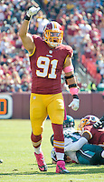 Washington Redskins outside linebacker Ryan Kerrigan (91) celebrates his second sack in the first quarter against the Philadelphia Eagles at FedEx Field in Landover, Maryland on Sunday, October 16, 2016.<br /> Credit: Ron Sachs / CNP /MediaPunch