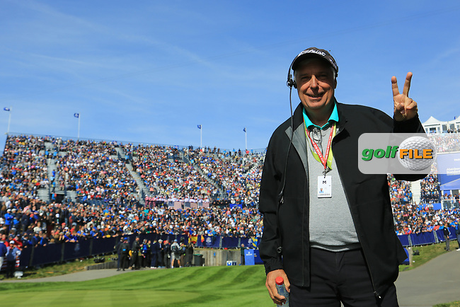 Marc Farry (FRA) commentator during the Saturday Fourballs at the Ryder Cup, Le Golf National, Paris, France. 29/09/2018.<br /> Picture Phil Inglis / Golffile.ie<br /> <br /> All photo usage must carry mandatory copyright credit (© Golffile | Phil Inglis)