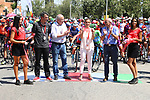 Race Director Javier Guillen (ESP) and local dignitaries ready to start Stage 8 of La Vuelta 2019 running 166.9km from Valls to Igualada, Spain. 31st August 2019.<br /> Picture: Luis Angel Gomez/Photogomezsport | Cyclefile<br /> <br /> All photos usage must carry mandatory copyright credit (© Cyclefile | Luis Angel Gomez/Photogomezsport)