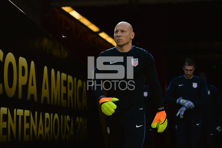 Santa Clara, CA - Friday June 03, 2016: United States goalkeeper Brad Guzan (1) enters the field for warmups during a Copa America Centenario Group A match between United States (USA) and Colombia (COL) at Levi's Stadium.