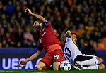 Maxine Gonfalons (L) of Olympique Lyonnais tackled by Dani Parejo of Valencia CF - UEFA Champions League Group H - Valencia CF vs Olympique Lyonnais - Mestalla Stadium - Valencia- Spain - 09th December 2015 - Pic David Aliaga/Sportimage