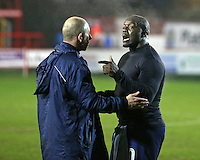 Accrington Stanley assistant manager Jimmy Bell and Adebayo Akinfenwa of Wycombe Wanderers post match <br /> during the Sky Bet League 2 match between Accrington Stanley and Wycombe Wanderers at the wham stadium, Accrington, England on 28 February 2017. Photo by Tony  KIPAX.
