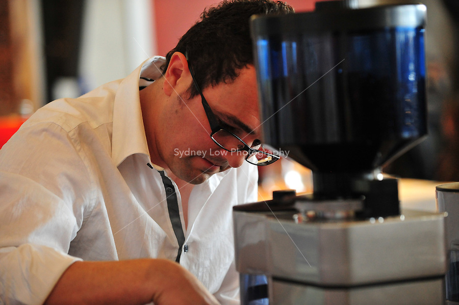 MELBOURNE, 4 May 2008. David Makin competing in the 2008 Australian Barista Championship in Melbourne, Australia. Photo Sydney Low