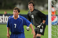 Riley Wolfe (7) and goalkeeper Keith Cardona (18) of the Academy Select Team. The US U-17 Men's National Team defeated the Development Academy Select Team 3-1 during day one of the US Soccer Development Academy  Spring Showcase in Sarasota, FL, on May 22, 2009.