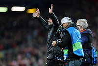 Liverpool manager Jurgen Klopp acknowledges the fans as he celebrates at the final whistle <br /> <br /> Photographer Rich Linley/CameraSport<br /> <br /> UEFA Champions League Semi-Final 2nd Leg - Liverpool v Barcelona - Tuesday May 7th 2019 - Anfield - Liverpool<br />  <br /> World Copyright © 2018 CameraSport. All rights reserved. 43 Linden Ave. Countesthorpe. Leicester. England. LE8 5PG - Tel: +44 (0) 116 277 4147 - admin@camerasport.com - www.camerasport.com
