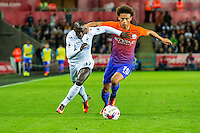( L-R )  zs17s zany Leroy Sané of Manchester City chase the ball during the EFL Cup Third Round Premier match between Swansea City and Manchester City at The Liberty Stadium. Wednesday 21 September 2016