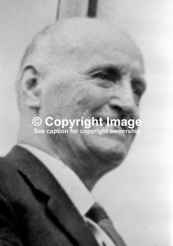 Jack Barnhill, Ulster Unionist, senator, Stormont Parliament, N Ireland. Senator Barnhill was fatally shot when he answered the doorbell of his home near the Tyrone-Donegal border with the Rep of Ireland on 12 December 1971. The Official IRA subsequently claimed that it had not been their intention to kill Senator Barnhill but he grappled with the men who had come to plant the bomb. 197112120555c. 555/71, linenhall..Copyright Image from Victor Patterson, 54 Dorchester Park, Belfast, UK, BT9 6RJ..Tel: +44 28 9066 1296.Mob: +44 7802 353836.Voicemail +44 20 8816 7153.Skype: victorpattersonbelfast.Email: victorpatterson@mac.com.Email: victorpatterson@ireland.com (back-up)..IMPORTANT: If you wish to use this image or any other of my images please go to www.victorpatterson.com and click on the Terms & Conditions. Then contact me by email or phone with the reference number(s) of the image(s) concerned.